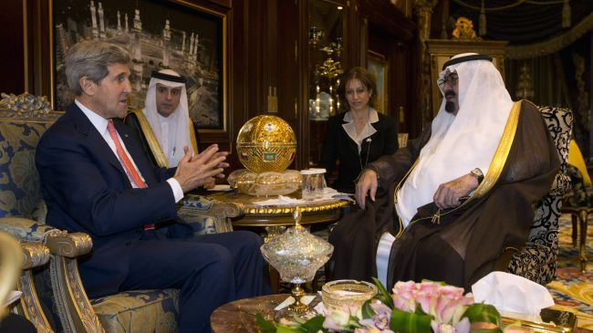 US Secretary of State John Kerry (L) meets with Saudi Arabia's King Abdullah during a tour to the Middle East.