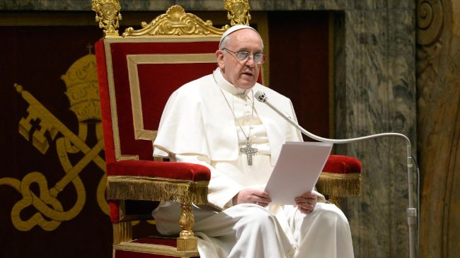 Pope Francis delivers a speech March 15, 2013, during a meeting of the world's cardinals.