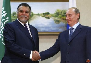 Prince Bandar bin Sultan, Saudi Arabia's intelligence chief, meeting with Russian President Vladimir Putin.