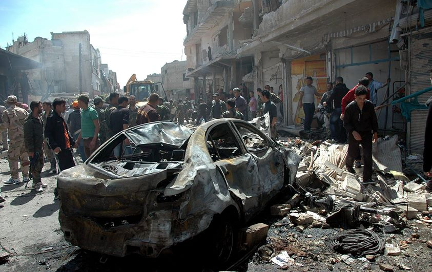 Car bombing in Homs, Apr 29, 2014 (photo from SANA)