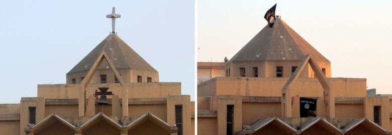 """A combo made up of file pictures shows the cross on top of Armenian Catholic Church of the Martyrs in the northern rebel-held Syrian city of Raqqa on September 16, 2013 (L) and the flag of the Islamic State of Iraq and the Levant (ISIL) fluttering on the """"dome"""" of the church on September 28. (Photo: AFP-Mohammed Abdel Aziz)"""