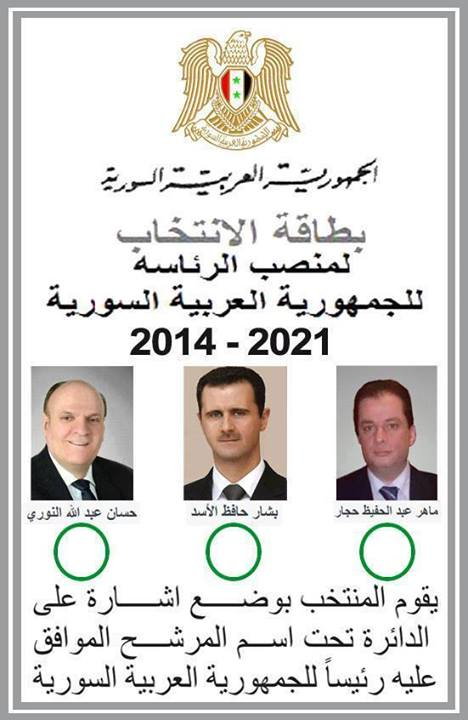 The 3 June ballot paper - 28 May for Syrians in other countries which have an Embassy.
