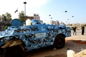 Syrian police armored vehicle in Homs. /AFP/Anwar Amro