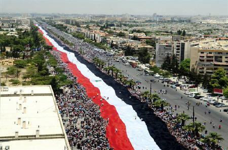 2.3 km Syrian flag, al-Mezzeh, Damascus, SANA, June 15, 2011.